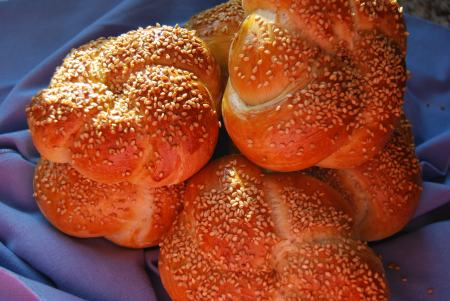 Kaiser Rolls topped with Toasted Sesame Seeds