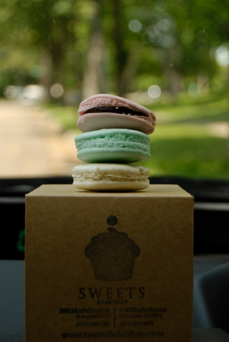 Macaron on the dashboard of my car.